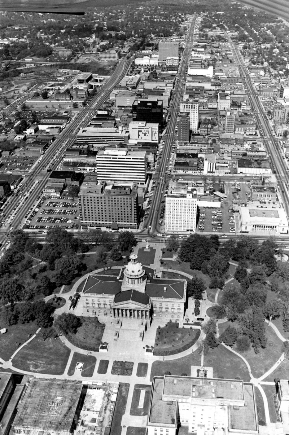 Aerial view of the State House and downtown Columbia - The