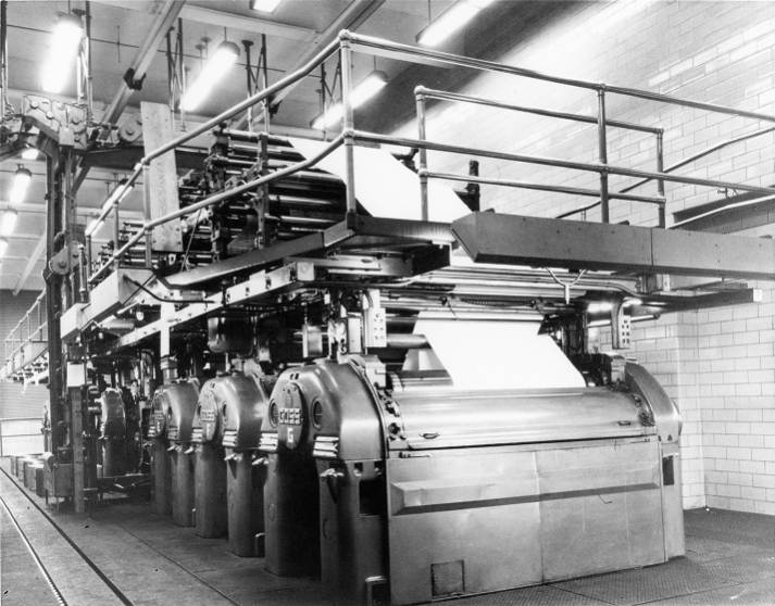 A Goss printing press in the basement of The State-Record